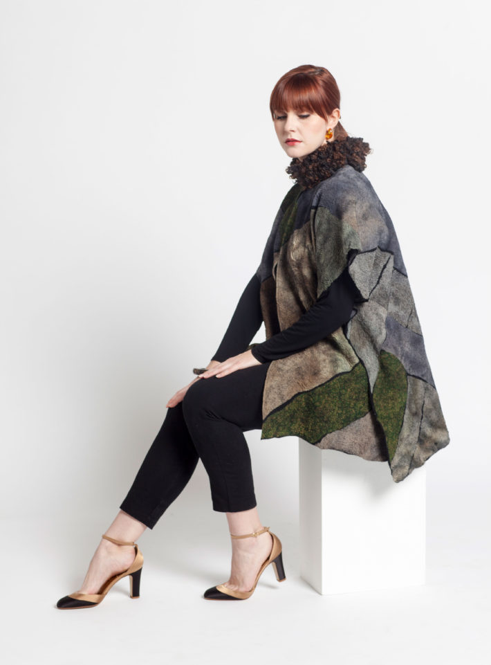 Mossy Glade Cape with Angora Collar