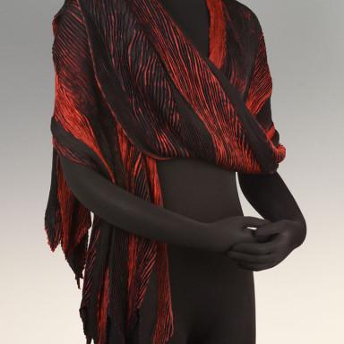 Arashi Shibori Shawl Black Red