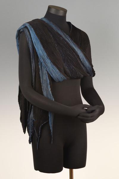 Arashi Shibori Shawl Black Sapphire