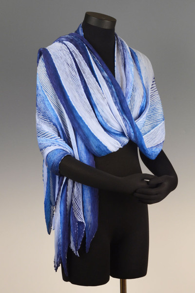 Arashi Shibori Shawl Blues on Blue