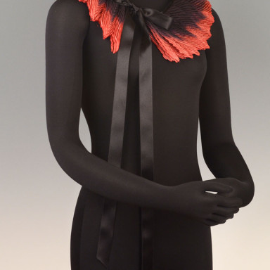 Feather Pleated Collar Small Black Red