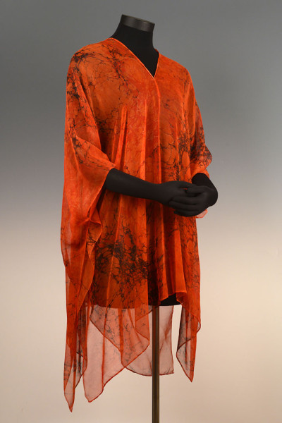 Marbled Full Poncho Orange