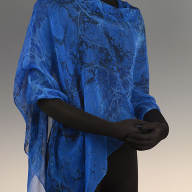 Marbled Single Poncho Blue