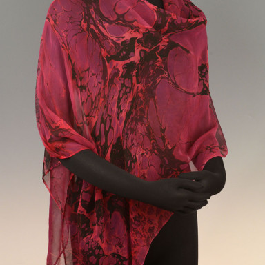Marbled Single Poncho Fuschia