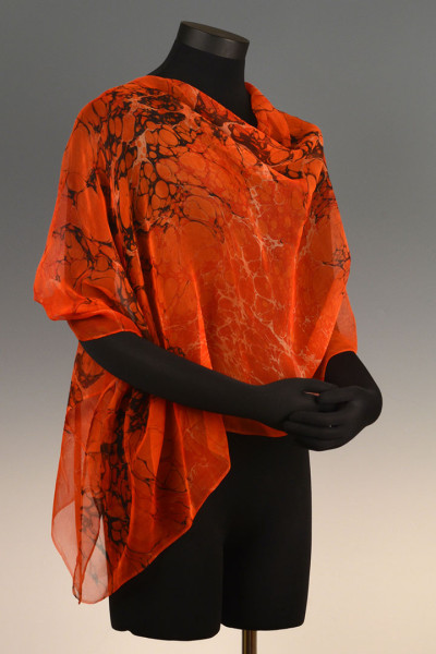 Marbled Single Poncho Orange