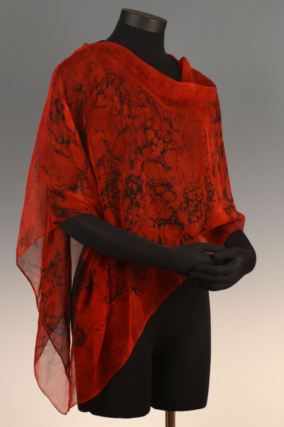 Marbled Single Poncho Red